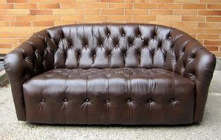 1960's tufted leather sofa