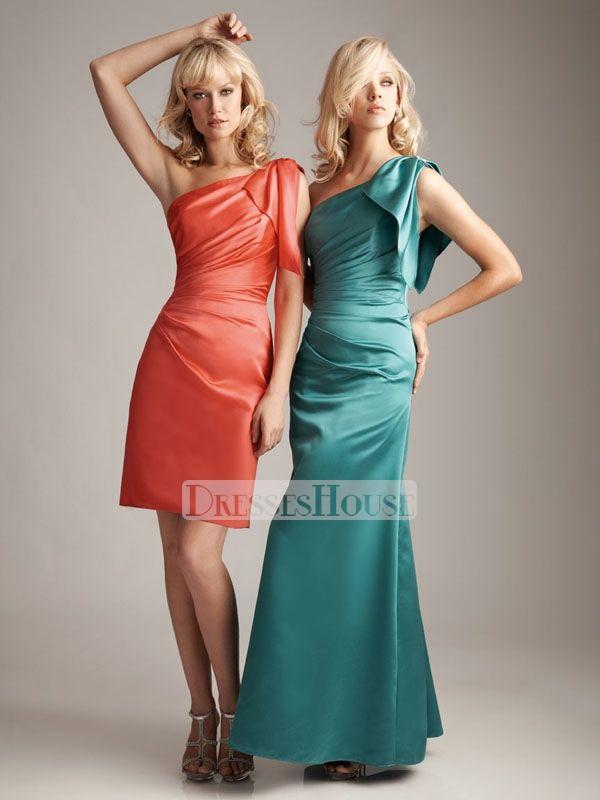 Sheath One Shoulder Knee Length Satin Bridesmaid Dress BD10360