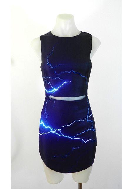 Black Lightening Dress, Mini Skirt, Cut Out, Sleeveless, Asymmetrical Hem