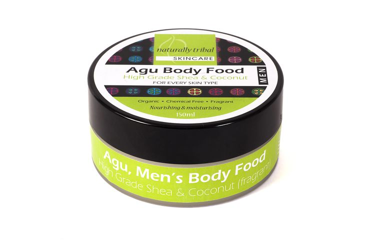 AGU BODY FOOD FOR MEN. The soothing, healing, protecting and enriching properties of Shea butter and coconut are brilliant for hydrating and nourishing your skin.