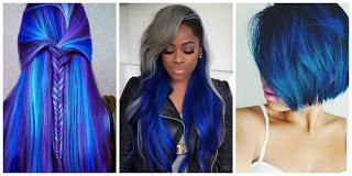 Blue Hairstyle #hairstyle #women #fashion #moda #mujeres