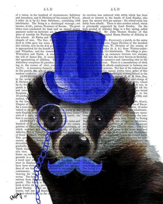 Steampunk Art Print, Badger Blue Top Hat and Mustache, Art Print Digital Illustration Original Painting Badger Print badger picture on Etsy, $12.00