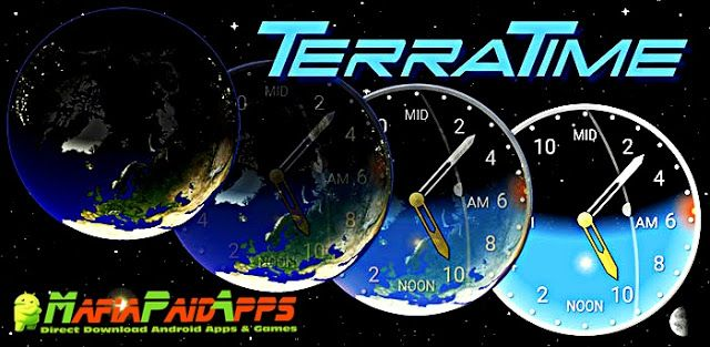 TerraTime Pro 5.4 Apk for Android    TerraTime Pro Apk  TerraTime Pro is a Tools Applications for Android  Download last version of TerraTime Pro Apk for android from MafiaPaidApps with direct link  Tested By MafiaPidApps  without adverts & license problem  without Lucky patcher & google play the mod   The nature of time.  Visually stunning virtual Earth: Real satellite photos drive a simulation of day/night clouds seasons sun moon and more. Plus our unique clock (with widget) tracks…