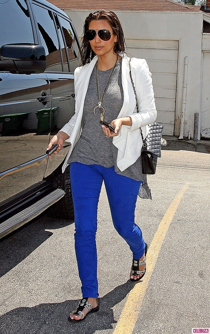 bright blue skinny jeans!