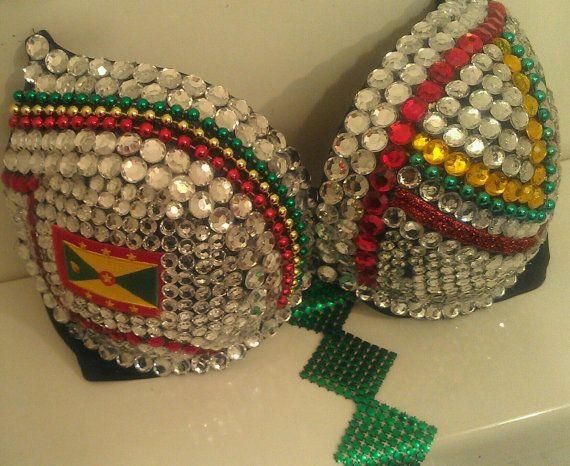 Rhinestone Bra Grenada Flag Bra or Rasta Bra by Smokinghotdivas, $65.00