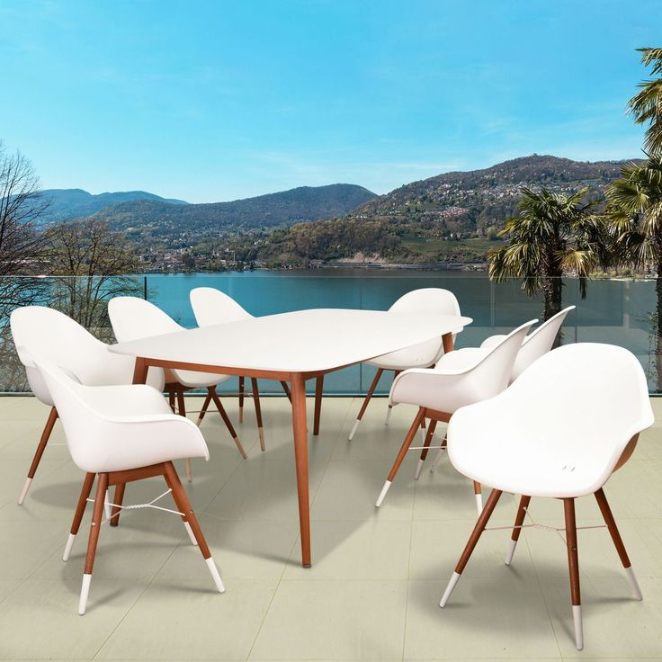 Amazonia Hawaii White 9 Piece Rectangular Patio Dining Set (Natural Wood U0026 White  Resin
