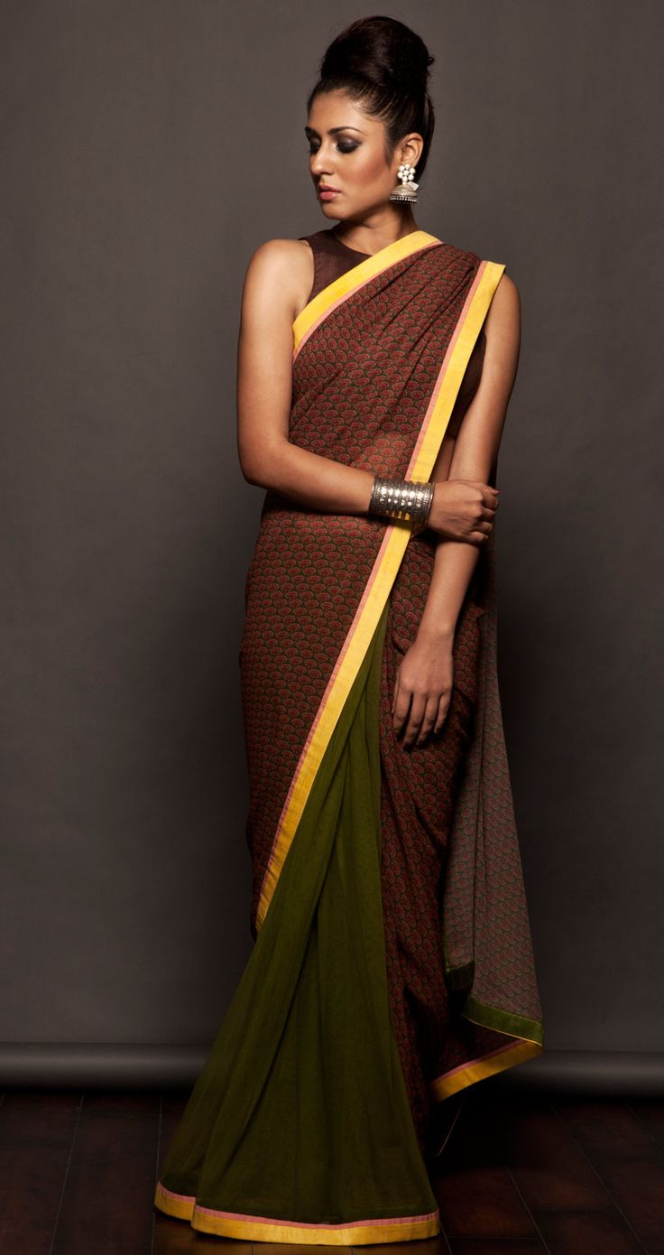 Olive green printed sari available only at Pernias pop-up shop.