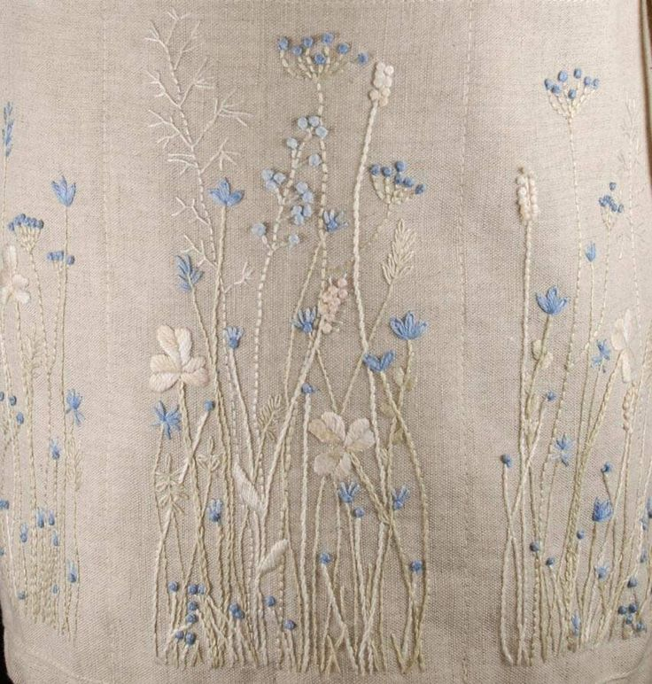 I love the blue added to the natural tones in this embroidery