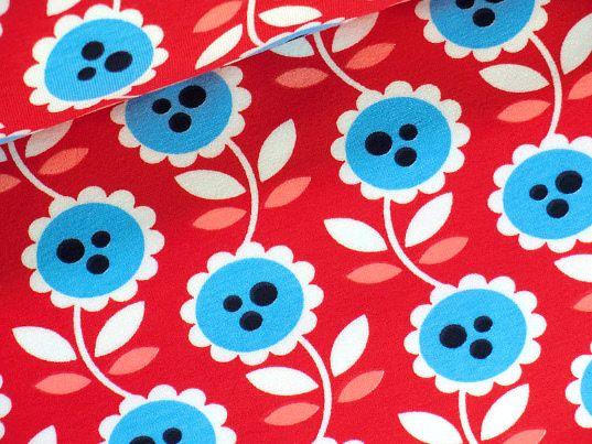 Jersey Lovely Flowers rot- neue Kollektion der Hamburger Liebe