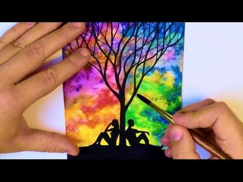 watercolor painting easy paintings tree simple beginners landscape acrylic paint drawing sunset silhouette tutorial watercolour sky trees galaxy night canvas