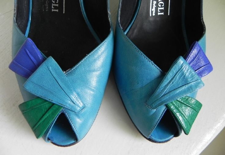 Bruno magli vintage peeptoe slingback pumps shoes (1959)