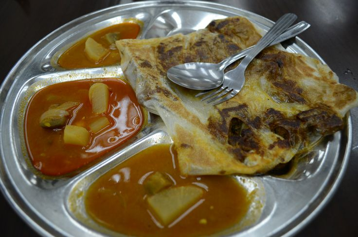 The best Malaysian food ever! Roti stuffed with soft lamb pieces