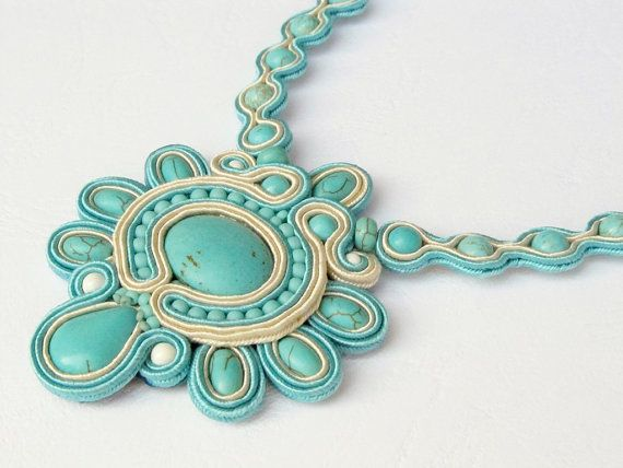 Soutache necklace, turquoise and ivory, mineral beads
