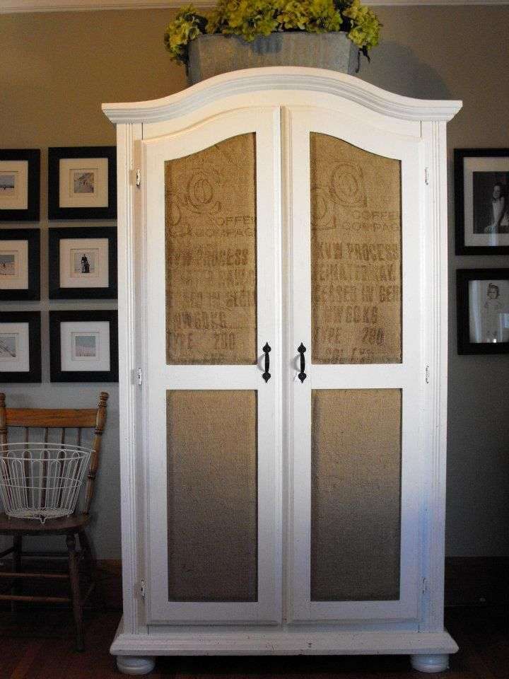 Cabinet accented with burlap inserts: Decor, Burlap Door, Ideas, Stuff, Burlap On Kitchen Cabinets, Burlap Idea, Burlap Cupboard, Burlap Inserts, Cabinet Accented