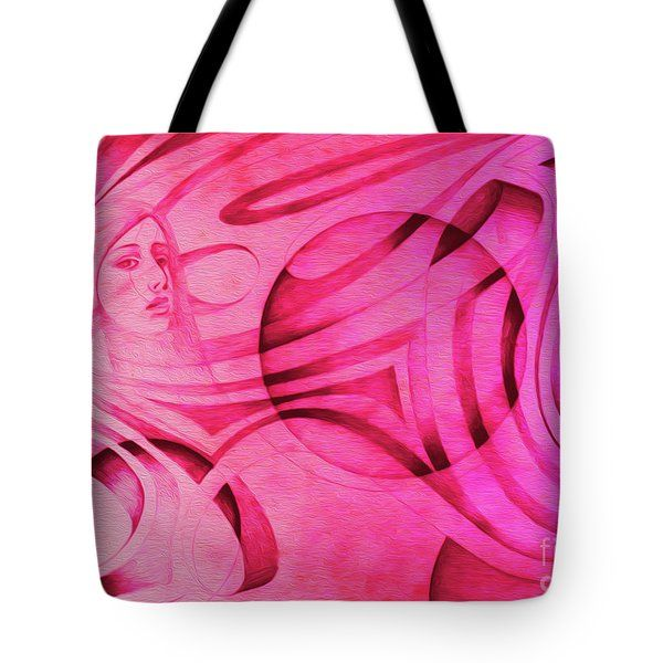 Woman In Pink - Psychedelic Lady Tote Bag by Simon Knott