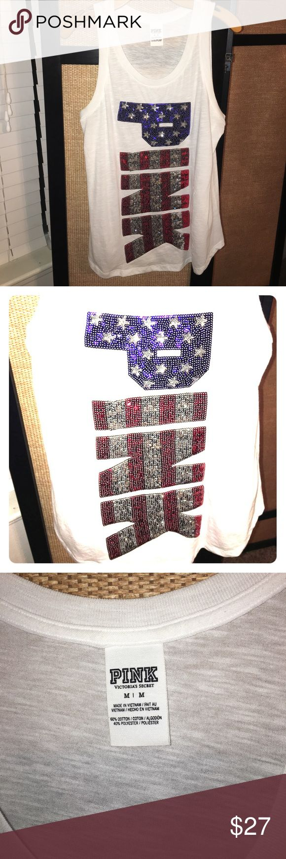 VS PINK 4th of July sequin tank NWOT •  Brand new bought last year and never wore . Medium . Beautiful sequin Fourth of July tank top . Perfect condition .no sequin missing . NEVER WORN • happy summer ! PINK Victoria's Secret Tops Tank Tops
