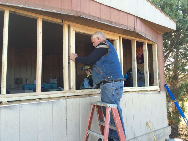 Removing bay window and adding single double pane window
