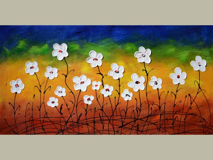 Abstract Flowers 23 X 45 Original Painting Modern Home decor Contemporary Office wall Palette Knife Oil Textured Flowers Abstract Colorful White Daisies Blue Green Yellow ART by Marchella Piery