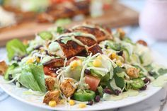 Southwest Chicken Salad with Healthy Avocado Buttermilk Dressing - Cooking for Keeps