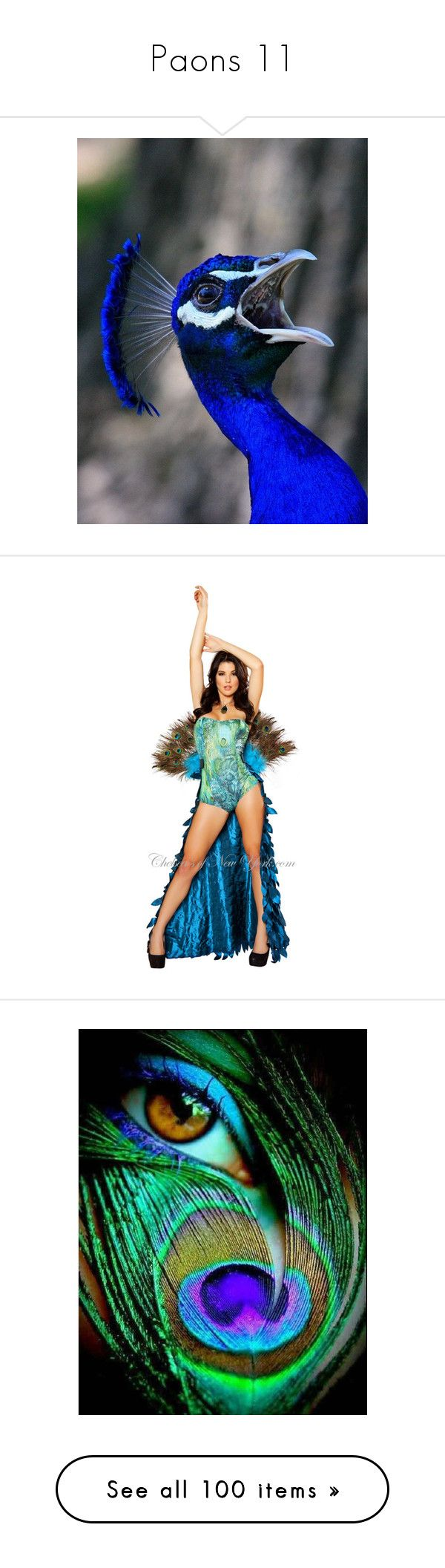 """""""Paons 11"""" by ilona2010 ❤ liked on Polyvore featuring costumes, sexy peacock costume, sexy halloween costumes, sexy peacock halloween costume, sexy costumes, peacock halloween costume, eyes, backgrounds, animals and peacock"""