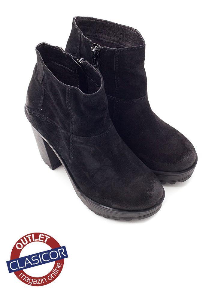 Botine dama velur, negru – 4011 | Pantofi piele online / outlet incaltaminte piele | Clasicor