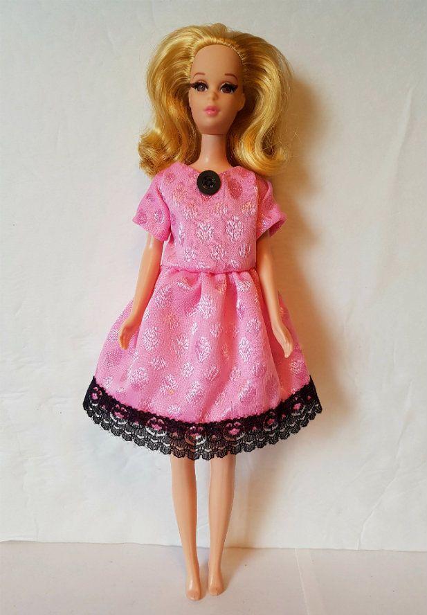 FRANCIE DOLL CLOTHES OOAK Baby-doll Dress pink & black Fashion NO DOLL d4e #DOLLS4EMMAOriginalDesigns #ClothingAccessories