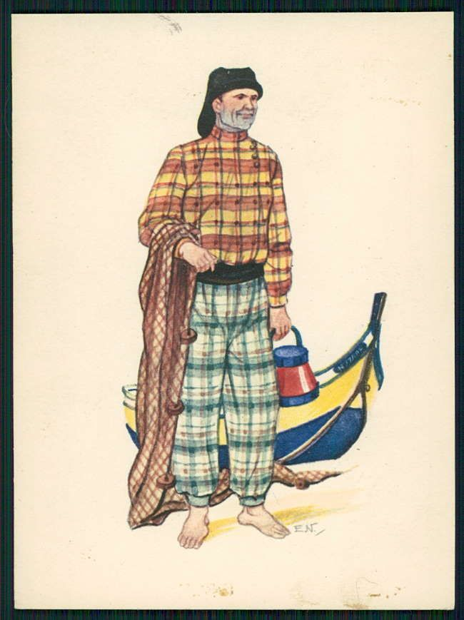 Art Emerico Nunes Ethnic Folk Dress Costume Nazare Fishing Portugal 50s Postcard | eBay