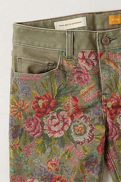 Anthropologie - Pilcro Stet Slim Ankle Needlepoint Jeans
