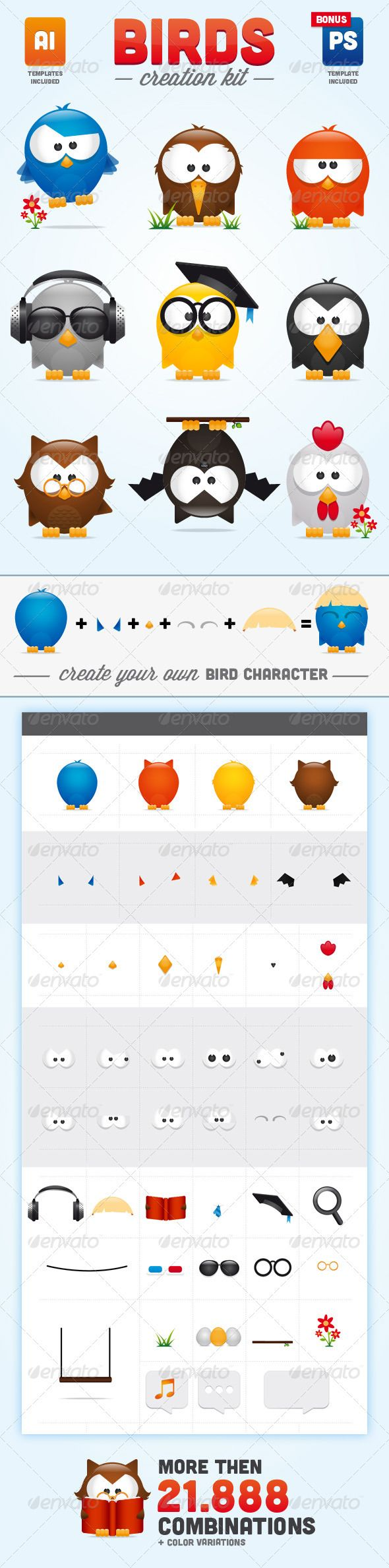 Birds Creation Kit - Animals Characters I download http://graphicriver.net/item/birds-creation-kit/2404713?ref=imanvector