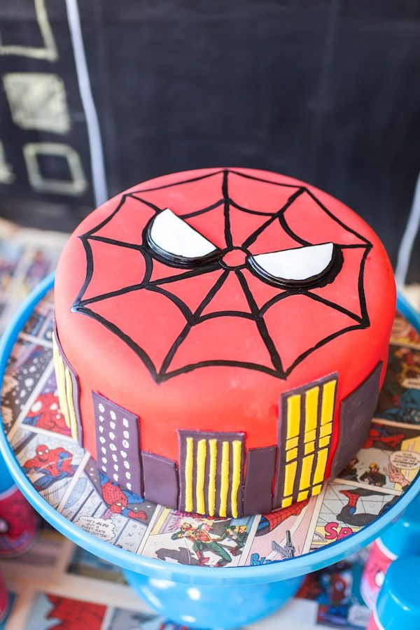 spiderman superhero birthday party - affordable spiderman cake