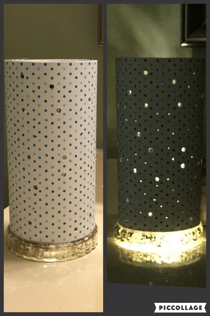 I used a battery operated candle base that my sister gave me to make this constellation night light for my grandsons out of an empty oatmeal container and polka dot scrapbook paper.  Just poked different size holes all over it.  I think they'll love it!!❤️