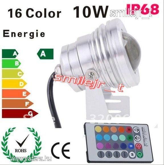 10W RGB Power LED reflektor VÍZÁLLÓ!  távir. AKCIÓ - 3750 Ft - Nézd meg Te is Vaterán - Izzó, led, égő - http://www.vatera.hu/item/view/?cod=1808543765