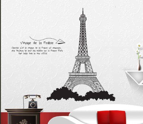 Free Will Eiffel Tower Of France Romantic Wall Sticker Living Room Or Bedroom  Decor Free Will