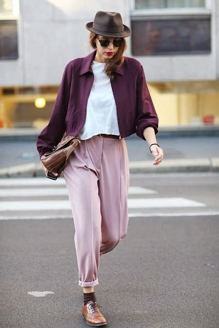 Blush pink + purplish burgundy + white + cognac.