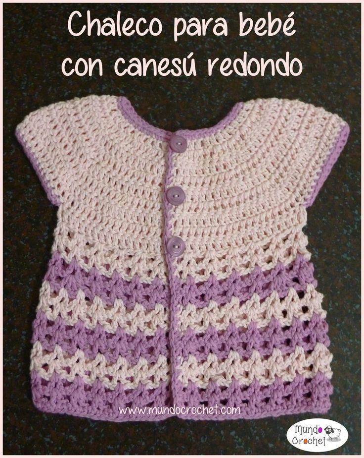 Patrones Crochet, Manualidades y Reciclado: Chaleco a Crochet Para Bebé con Canesú Redondo Pas...