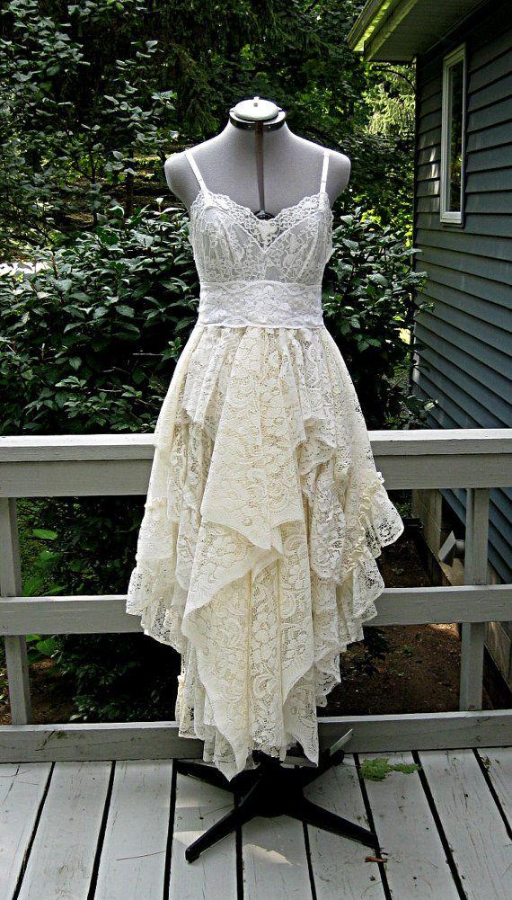 Cream Off White Ivory alternative bride tattered by LilyWhitepad