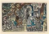 """Franz von Zülow * (Wien 1883-1963) """"Die Elixiere des Teufels"""",  handkolorierten Lithografie, j1923"""