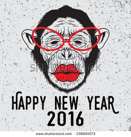 Hand drawn illustration on hipster chimpanzee monkey with glasses who want to kiss. Merry Christmas and Happy New Year typography design for placard design, posters, fashion print and t-shirts. - stock vector