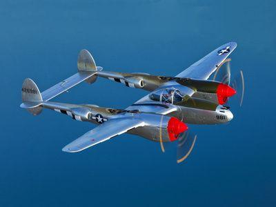 A Lockheed P-38 Lightning Fighter Aircraft in Flight