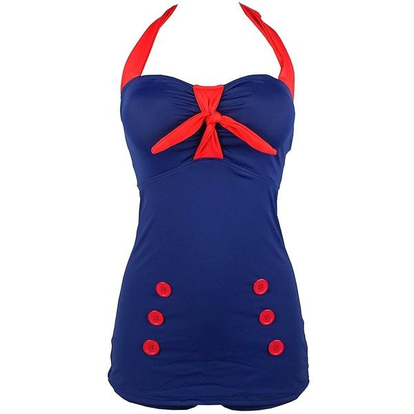 Cocoship Vintage Pin Up Swimsuit One Piece Boyleg Sheath Retro Bow... ($25) ❤ liked on Polyvore featuring swimwear, one-piece swimsuits, pin up one piece swimsuit, one piece pinup swimsuit, retro bathing suits and vintage one piece swimsuit