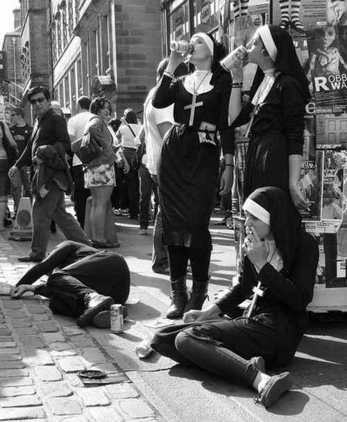nuns drinking and smoking. Yus.