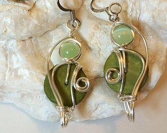 Dangle Garnet earrings Copper earrings Wirework by LenaSinelnikArt
