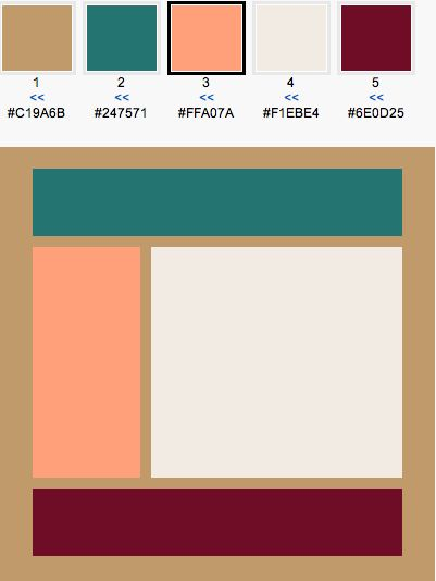 Color Scheme: Lion, Teal, Light Salmon, Lychee, Maroon - color pallet for room with maroon couches!