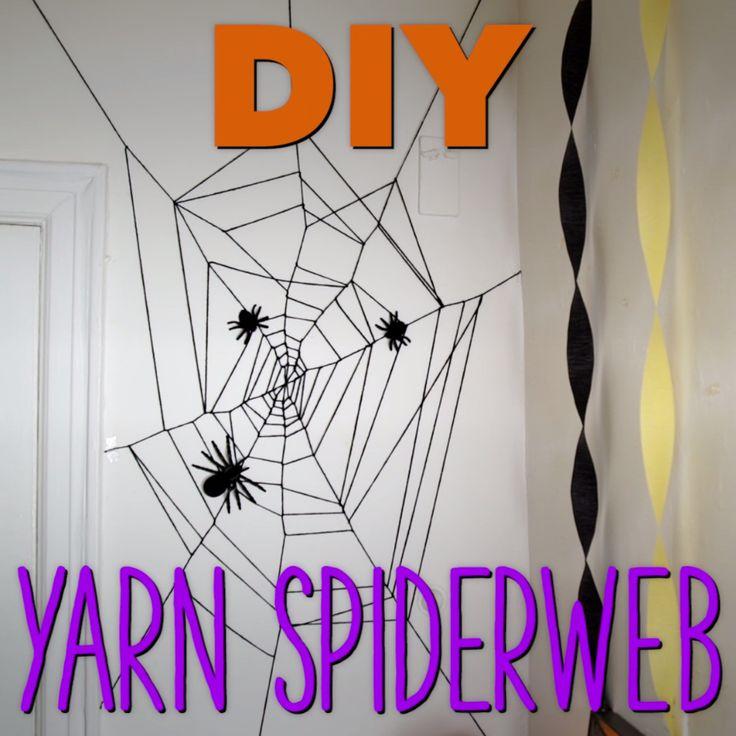 DIY Yarn Spider Web Halloween Decoration