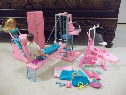 Vintage Barbie Doll Ken Gym Playset Lot Workout Furniture