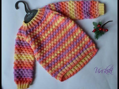 Как я вязала детский свитер на возраст 2-3 года. - YouTube