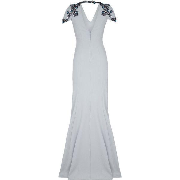 Safiyaa Jasmine Embroidered Long Dress ($1,620) ❤ liked on Polyvore featuring dresses, safiyaa, grey, short grey dress, maxi dresses, v-neck dresses, short maxi dress and grey dress