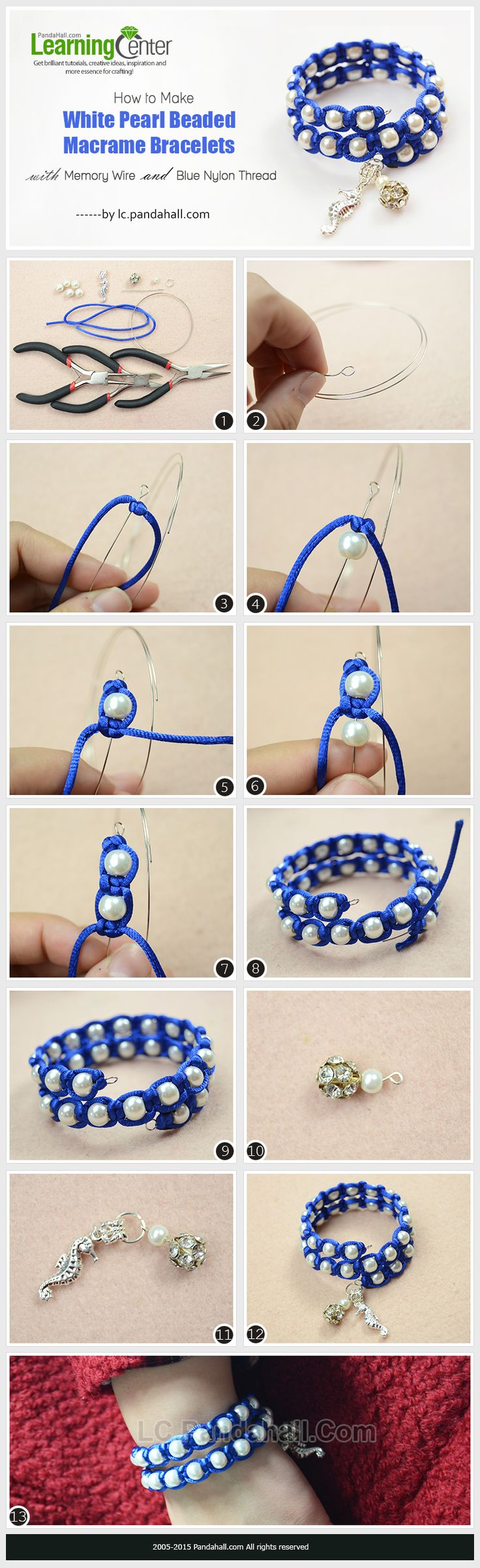How to Make White Pearl Beaded Macrame Bracelets with Memory Wire and Blue Nylon…