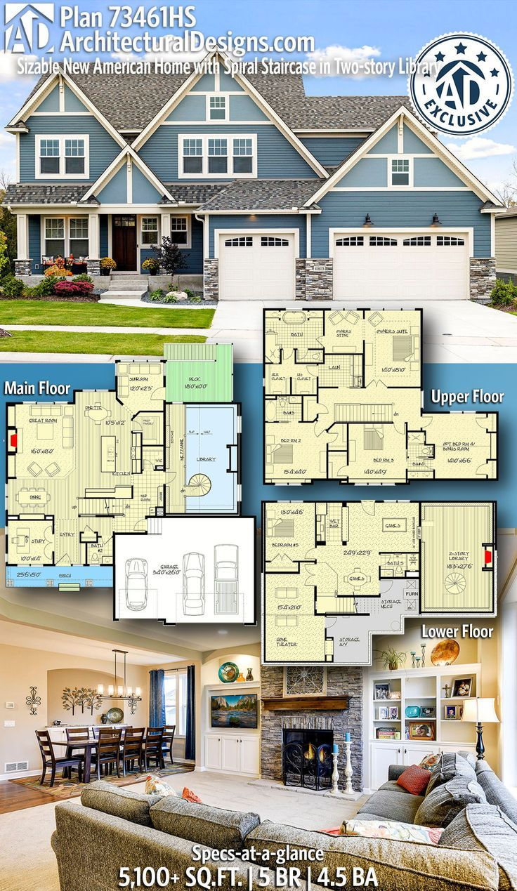 Plan 73461hs Sizable New American Home With Spiral Staircase In Two Story Library House Blueprints Exclusive House Plan House Layouts