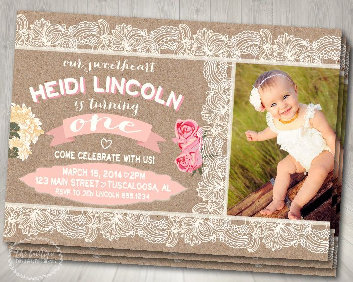 First Birthday Invitation Rustic Vintage Lace By TheBarrtique 1300